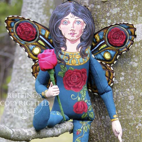 Rosalie, Original One-of-a-kind Red Rose Fairy Folk Art Doll by Max Bailey