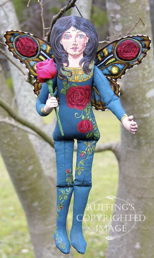 Rosalie the Red Rose Fairy, Original One-of-a-kind Folk Art Doll by Max Bailey
