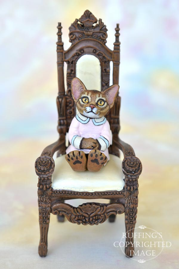 Rowena, miniature Abyssinian cat art doll, handmade original, one-of-a-kind kitten by artist Max Bailey