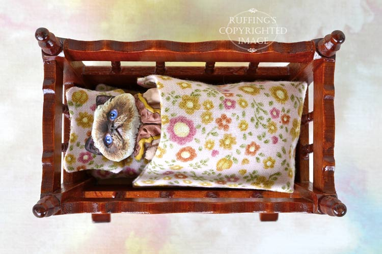 Roxanne, Original One-of-a-kind Dollhouse-sized Himalayan Kitten Art Doll by Max Bailey