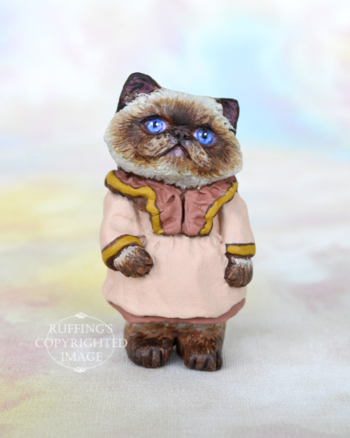 Roxanne, Original One-of-a-kind Miniature Himalayan Kitten Art Doll by Max Bailey