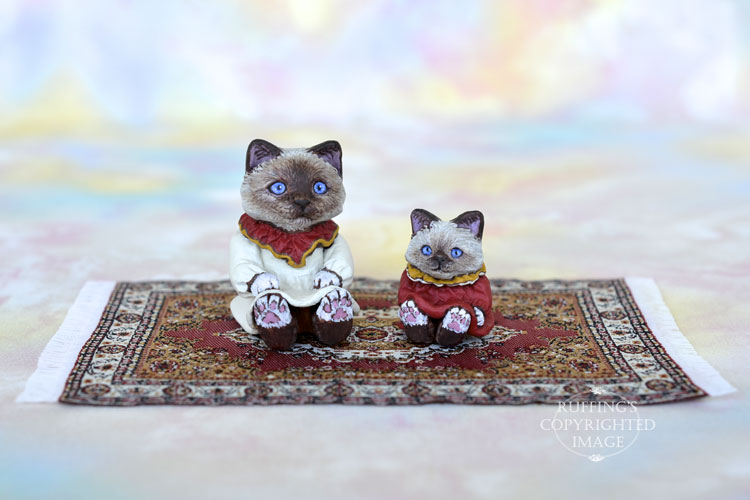 Sabrina and Sadie, Original One-of-a-kind Dollhouse-sized Birman Kittens by Max Bailey