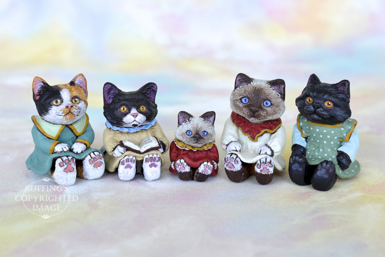 Callie, Cassandra, Sadie, Sabrina, and Clementine, Original One-of-a-kind Dollhouse-sized Kittens by Max Bailey