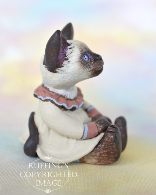Sara, miniature Siamese cat art doll with her own doll, handmade original, one-of-a-kind kitten by artist Max Bailey