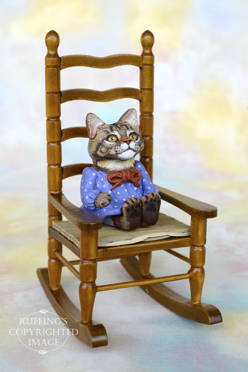 Sarah, Original One-of-a-kind Dollhouse-sized Maine Coon Kitten Art Doll by Max Bailey