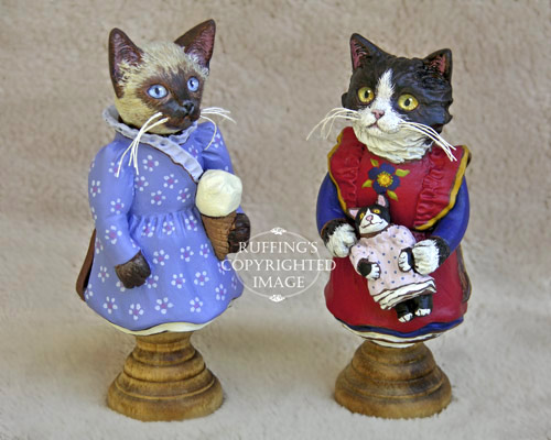Sasha the Siamese Kitten and Emmy the Tuxedo Kitten, Original One-of-a-kind Folk Art Doll Figurines by Max Bailey