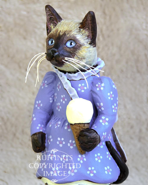 Sasha the Siamese Kitten, Original One-of-a-kind Folk Art Doll Figurine by Max Bailey