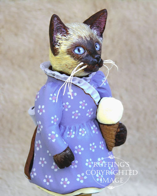 Sasha the Siamese Kitten, Original One-of-a-kind Folk Art Doll Figurine by Max Bailey