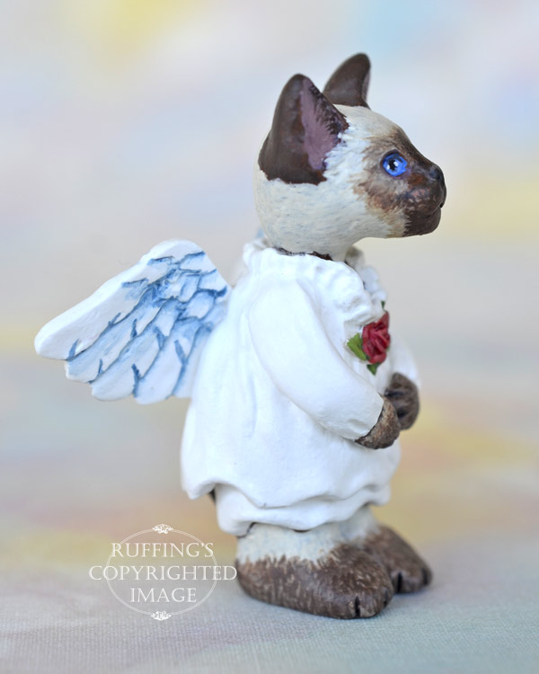 Serenity, miniature Siamese angel cat art doll, handmade original, one-of-a-kind kitten by artist Max Bailey