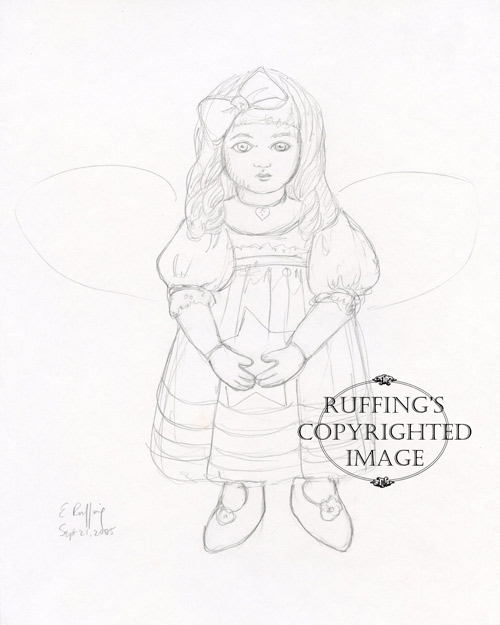 Serenity Starr angel sketch by Elizabeth Ruffing