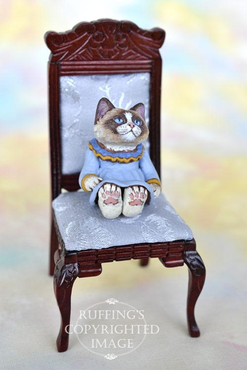 Shelby, miniature bi-color Ragdoll cat art doll, handmade original, one-of-a-kind kitten by artist Max Bailey