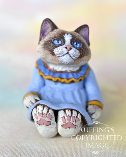 Shelby, miniature bi-color Ragdoll cat art doll, handmade original, one-of-a-kind kitten by artist Max Bailey