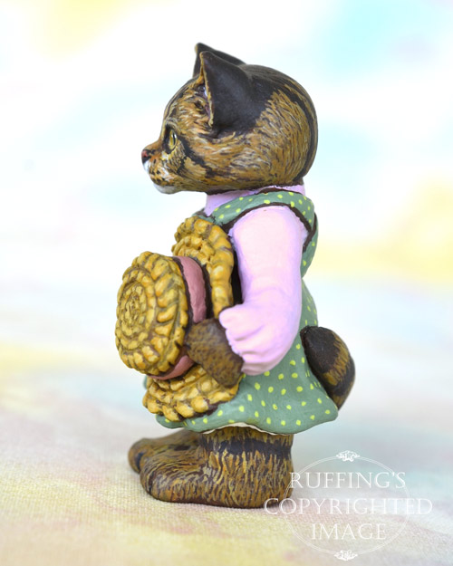 Skye, miniature Maine Coon cat art doll, handmade original, one-of-a-kind kitten by artist Max Bailey