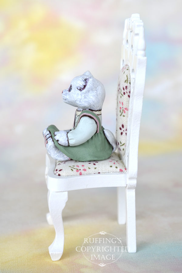 Snowflake, miniature white cat art doll, handmade original, one-of-a-kind kitten by artist Max Bailey