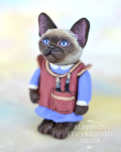 Sonya, miniature Siamese cat art doll, handmade original, one-of-a-kind kitten by artist Max Bailey
