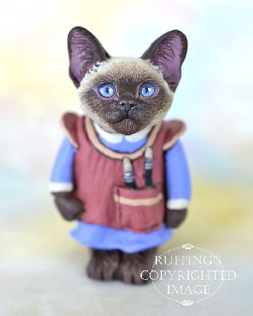 Sonya, miniature Siamese cat art doll, handmade original, one-of-a-kind kitten by artist Max Bailey