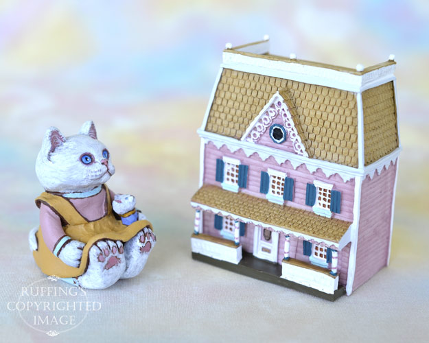 Sophie, miniature white cat art doll, handmade original, one-of-a-kind kitten by artist Max Bailey