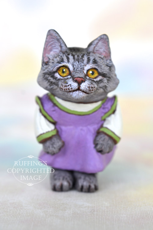 Stephanie, Original One-of-a-kind Dollhouse-sized Silver Tabby Maine Coon Kitten by Max Bailey