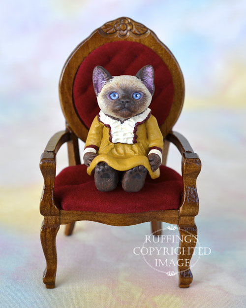 Suki, miniature Siamese cat art doll, handmade original, one-of-a-kind kitten by artist Max Bailey