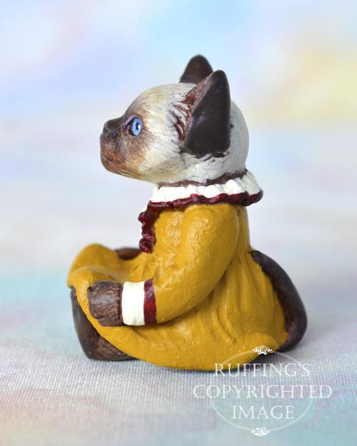 Suki, miniature Siamese cat art doll, handmade original, one-of-a-kind kitten by artist Max Bailey