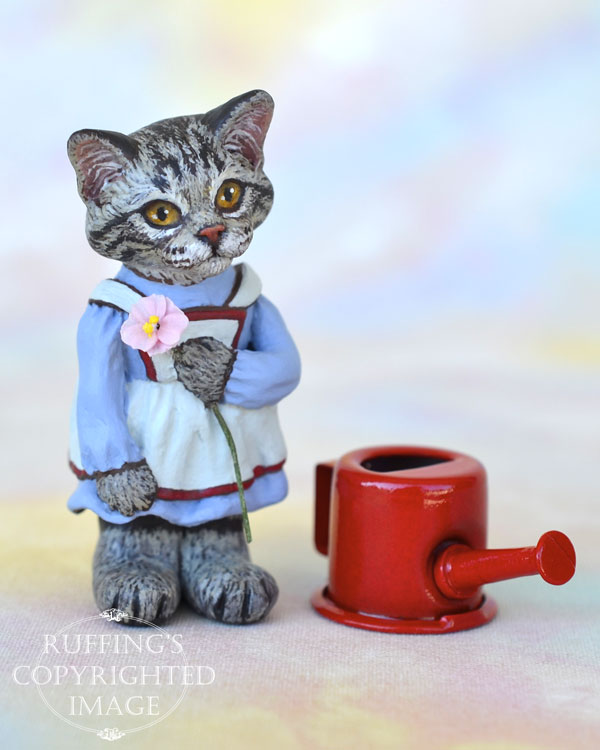Summer, miniature silver tabby Maine Coon cat art doll, handmade original, one-of-a-kind kitten by artist Max Bailey