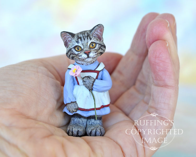 Summer, miniature silver tabby Maine Coon cat art doll, handmade original, one-of-a-kind kitten by artist Max Bailey