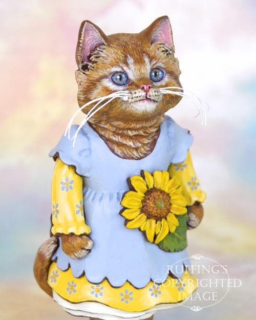 Sunflower the Orange Tabby Kitten, Original One-of-a-kind Folk Art Doll Figurine by Max Bailey