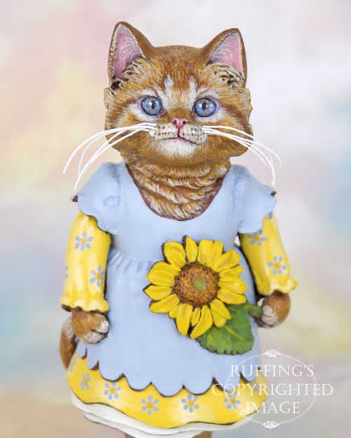 Sunflower the Orange Tabby Kitten, Original One-of-a-kind Folk Art Cat Doll Figurine by Max Bailey