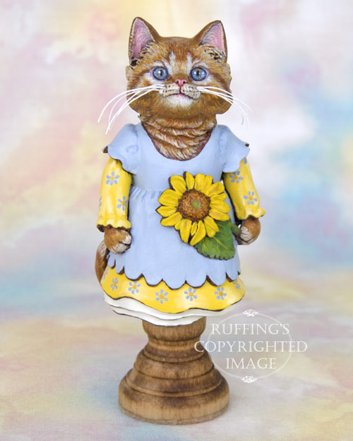 Sunflower the Orange Tabby Kitten, Original One-of-a-kind Folk Art Doll Figurine by Max Bailey