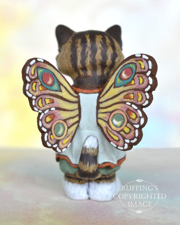 Sunnie, miniature tabby fairy cat art doll, handmade original, one-of-a-kind kitten by artist Max Bailey