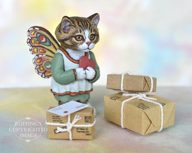 Sunnie, miniature tabby fairy cat art doll, handmade original, one-of-a-kind kitten by artist Max Bailey