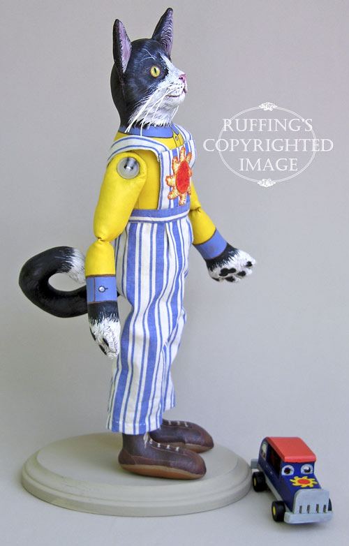 Sunny the Tuxedo Cat, Original One-of-a-kind Folk Art Doll by Max Bailey
