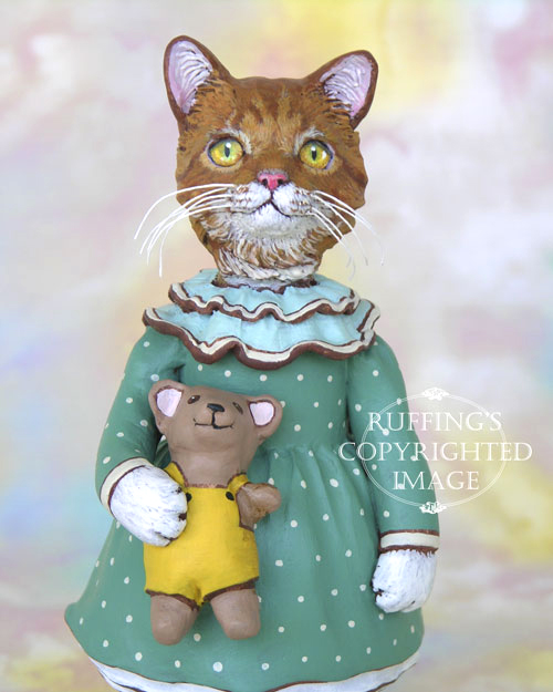 Suzannah, Original One-of-a-kind Ginger Tabby Folk Art Cat Doll Figurine by Max Bailey