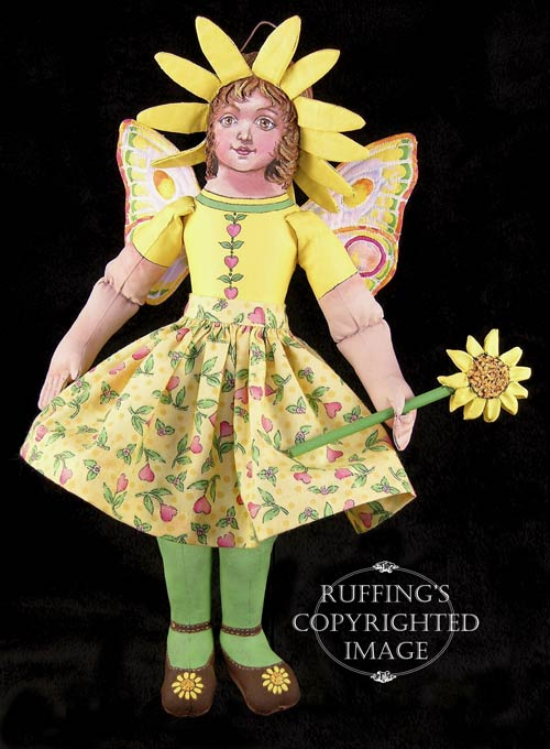 Suzie the Sunflower Fairy, Original One-of-a-kind Folk Art Doll by Max Bailey