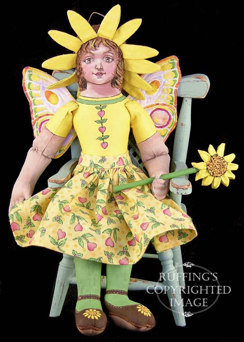 Suzie the Sunflower Fairy, Original One-of-a-kind Folk Art Doll by Max Bailey and Elizabeth Ruffing