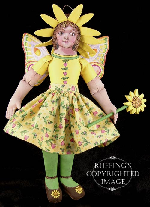 Suzie the Sunflower Fairy Original One-of-a-kind Art Doll by Max Bailey and Elizabeth Ruffing