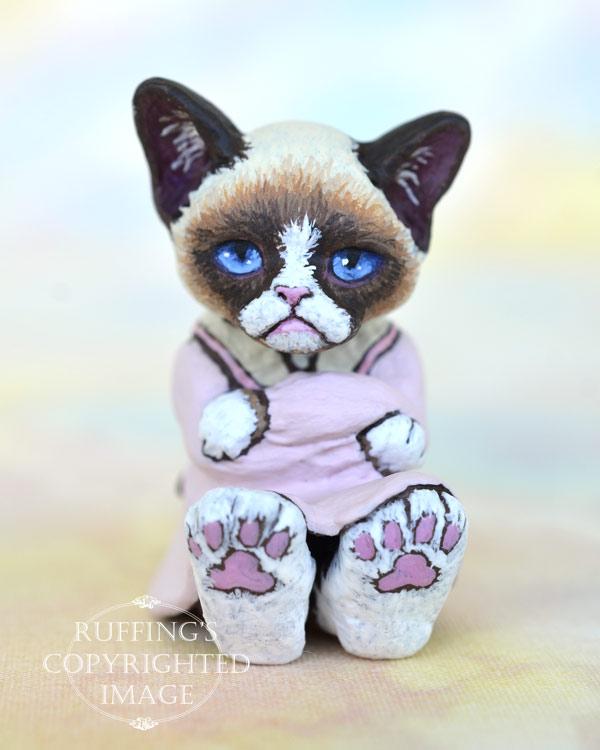 Sweetie, miniature bi-color Ragdoll mix, cat art doll, handmade original, one-of-a-kind kitten by artist Max Bailey