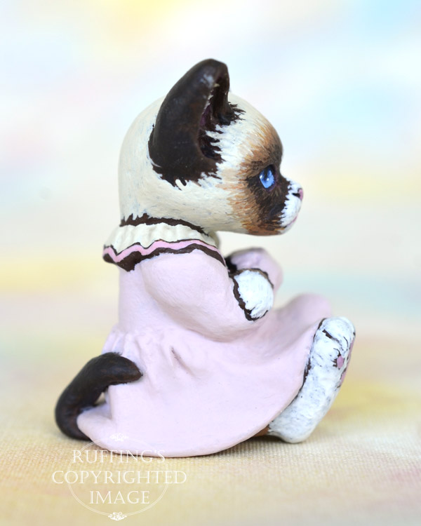 Sweetie, miniature bi-color Ragdoll mix, cat art doll, handmade original, one-of-a-kind kitten by artist Max Bailey