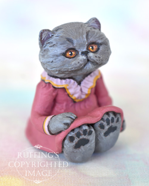 Sylvie, miniature Blue Persian cat art doll, handmade original, one-of-a-kind kitten by artist Max Bailey