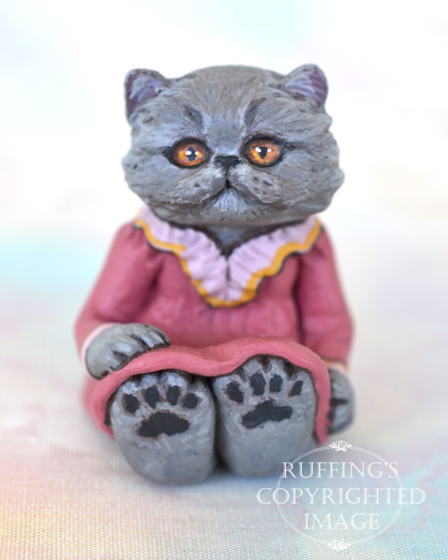 Sylvie, miniature Blue Persian cat art doll, handmade original, one-of-a-kind kitten by artist Max Bailey