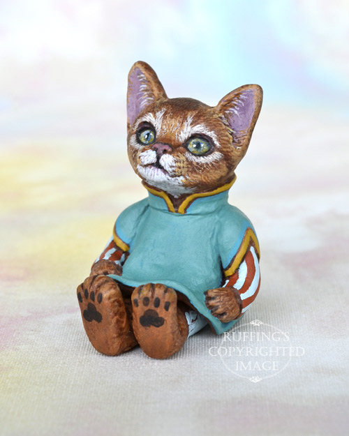 Talia, Original One-of-a-kind Miniature Abyssinian Kitten Art Doll by Max Bailey