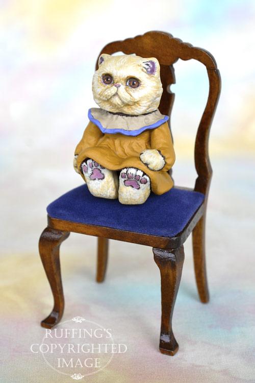 Theodora, miniature Exotic cat art doll, handmade original, one-of-a-kind kitten by artist Max Bailey