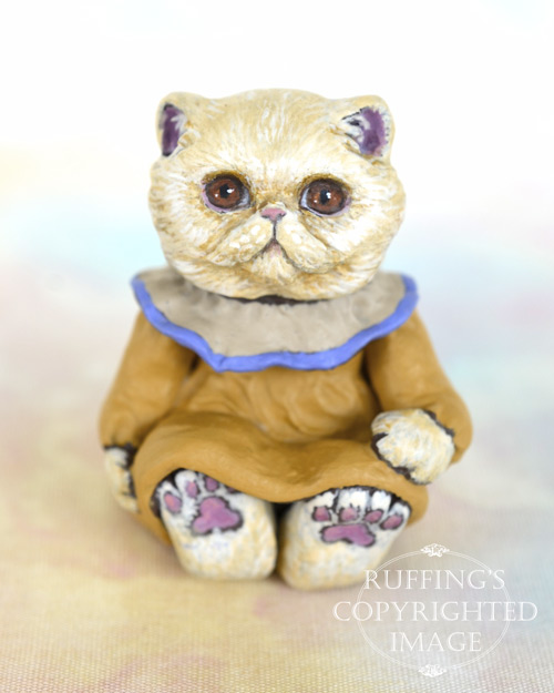 Theodora, miniature Exotic cat art doll, handmade original, one-of-a-kind kitten by artist Max Bailey
