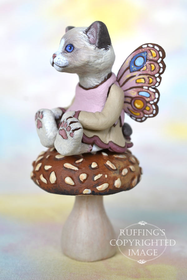 Tianna, miniature Ragdoll fairy cat art doll, handmade original, one-of-a-kind kitten by artist Max Bailey