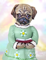 Tillie the Pug Dog, Original One-of-a-kind Folk Art Doll Figurine by Max Bailey