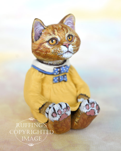 Tippie, miniature ginger tabby Maine Coon cat art doll, handmade original, one-of-a-kind kitten by artist Max Bailey