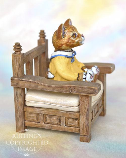 Tippie, miniature ginger tabby Maine Coon cat art doll, handmade original, one-of-a-kind kitten by artist Max Bailey