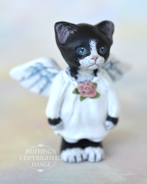 Tiptoe, miniature black-and-white tuxedo angel cat art doll, handmade original, one-of-a-kind kitten by artist Max Bailey