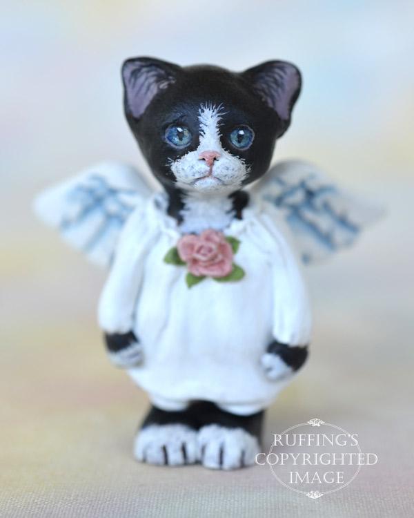Tiptoe, miniature black-and-white tuxedo angel cat art doll, handmade original, one-of-a-kind kitten by artist Max Bailey