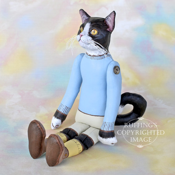 Tommy, Original One-of-a-kind Black-and-white Tuxedo Cat Art Doll by Max Bailey